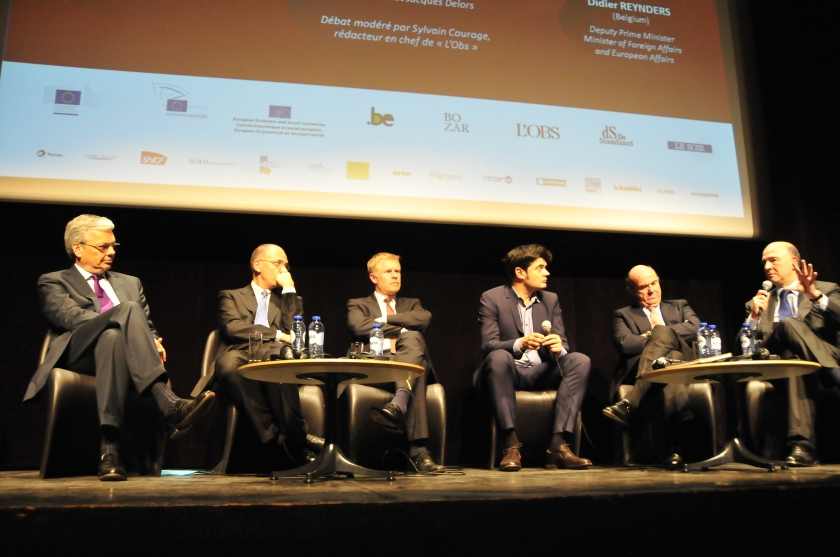 Didier Reynders, Enrico Letta, Henrik Enderlein, Sylvain Courage, Luis de Guidos, Pierre Moscovici © Thomas Thielemans